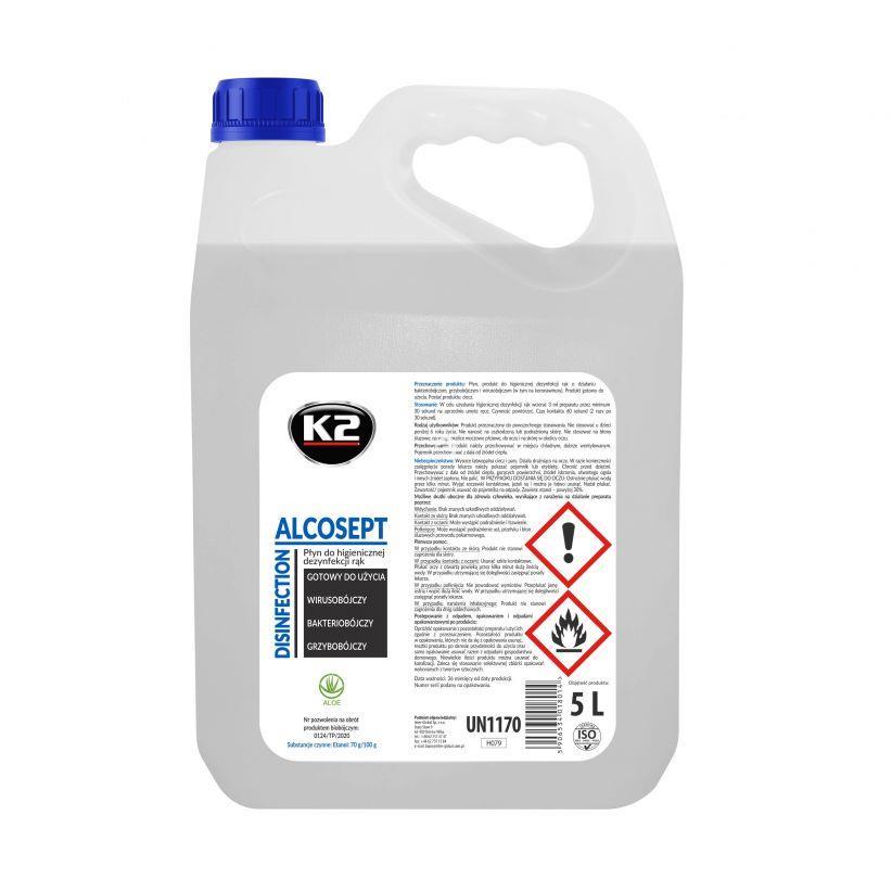 K2 ALCOSEPT 5L. H079 DEZYNFEKCJA RĄK WIRUSOBÓJCZY PŁYN NA BAZIE ALKOHOLU